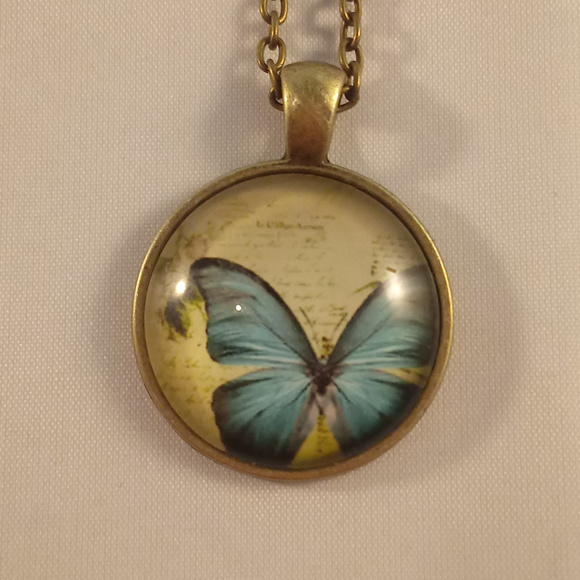 Jewelry - Bronze Gold Butterfly Glass Cabochon Necklace